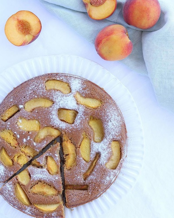 Olive oil ginger peach cake