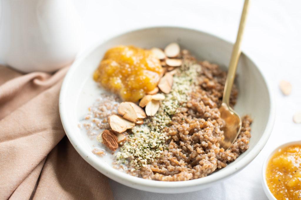 Farro Porridge with Chia Jam Breakfast by Karlene Karst